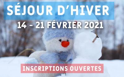 Séjour d'hiver 2021 : inscriptions ouvertes